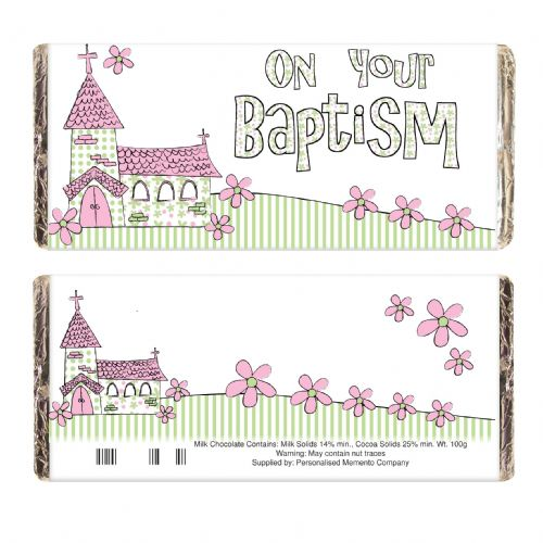 Pink Church On Your Baptism Chocolate Bar